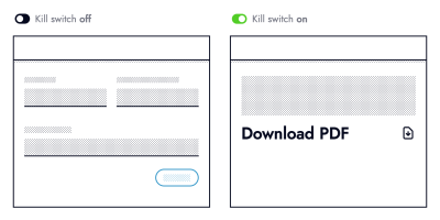 Two black and white wireframes. The left one titled: Kill switch off, displays 3 form fields above a blue button. The right one titled: Kill switch on, shows the text: Download PDF next to a download icon.