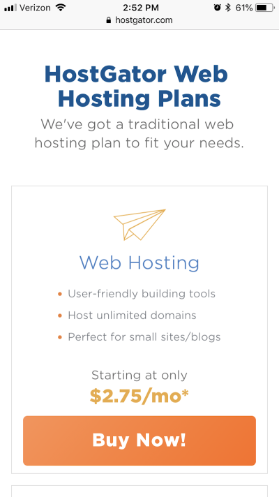 HostGator provides shortcut to purchase