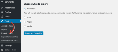 The WordPress back-end interface with arrows indicating each step to reach the export feature.