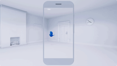 This AR experience uses an animated bird to guide users