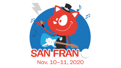 Topple the Cat holding a guitar, excited for SmashingConf taking place in San Francisco this year