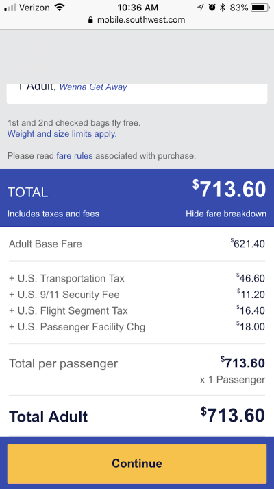 Southwest Airlines hidden charges