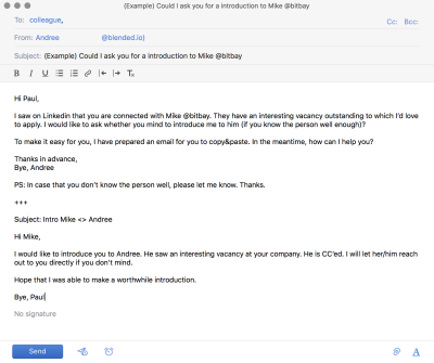 An email template for introductions