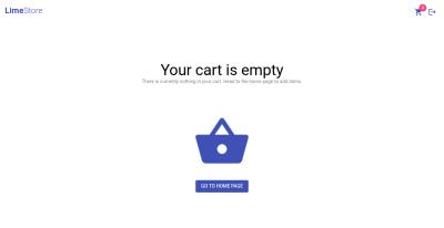 Screenshot of empty cart page
