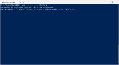 Setting the version of WSL to version 2 with Powershell