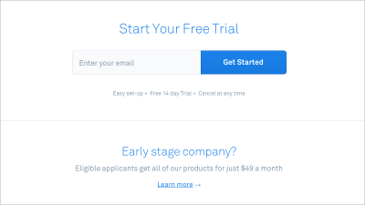 Intercom ensures that call-to-action buttons are large and eye-catching