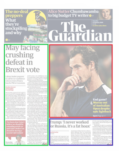 Modular layout in The Guardian newspaper