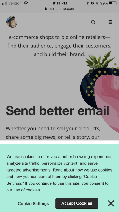 Example of an acceptable cookies disclaimer on mobile