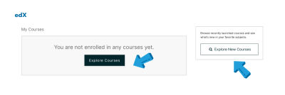 """The """"Explore Courses"""" buttons on edX"""