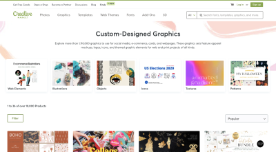 Creative Market page for custom-designed graphics like web elements, illustrations, objects, icons, textures and patterns