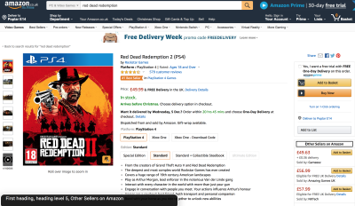 Screenshot of Amazon product page with VoiceOver overlay