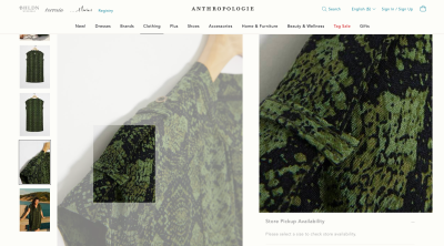 Anthropologie product zoom - green and black dress closeup