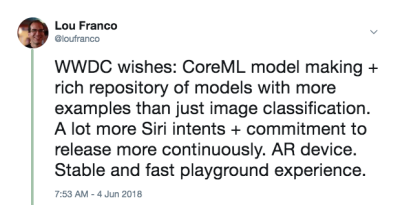 An image of a tweet with my WWDC wishes