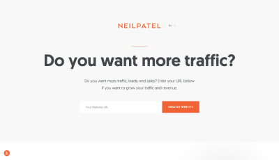 Neil Patel website 'Do you want more traffic?'
