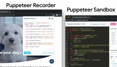 A Screenshot of the Pupeteer Recorder on the left, and a screenshot Puppeteer Sandbox shown on the right
