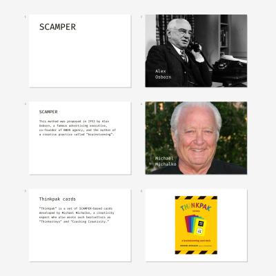 Samples of slides for conducting a brainstorming workshop employing SCAMPER method