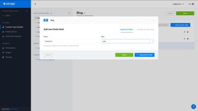 A screenshot of the Strapi dashboard - creating a new date field