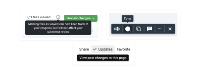 Example tooltips from GitHub, Whimsical, and Notion