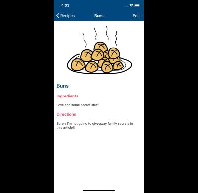 Screenshot of the recipe detail screen on iOS