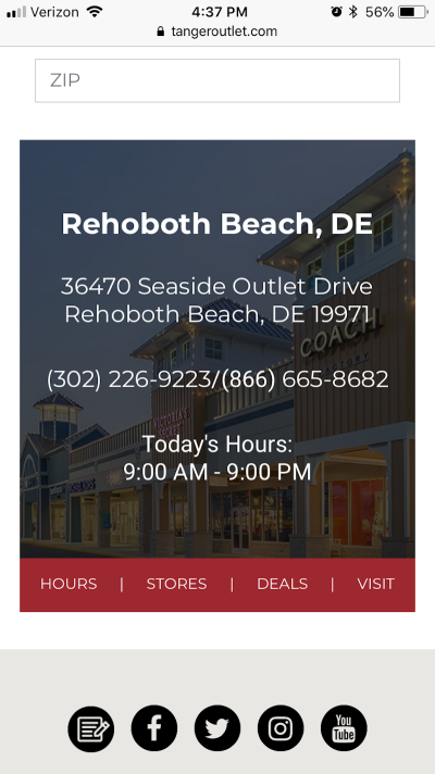 Example of a location-specific page and details from Tanger Outlets.