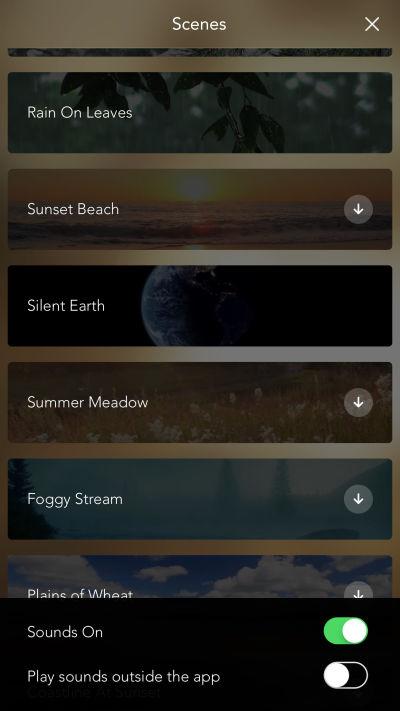 Screenshot of the Calm app