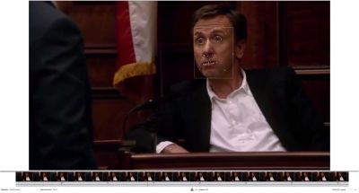 Facial coding used on a scene of a movie played on a screen