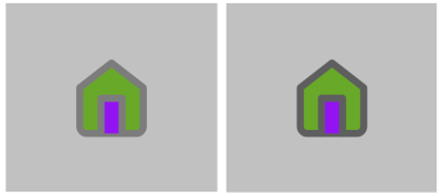House icon used in demo with light outline vs dark outline