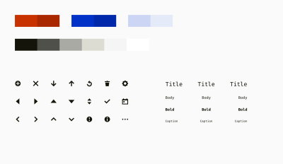 An example of a color palette, icons, and font styles sufficient for a table