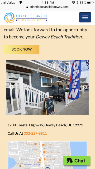 """The """"Book Now"""" button appears a number of times throughout the Atlantic Oceanside website."""