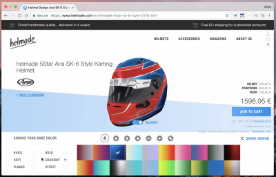 Helmade helmet configurator allocates quite a lot of space to the 3D rendering of the helmets; but especially on desktop, a slightly larger view could help.