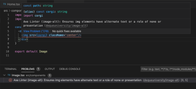 Axe Linter VS Code extension showing a warning for an img element with no alt text.