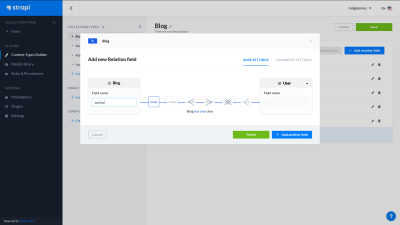 A screenshot of the Strapi dashboard - creating a new relation