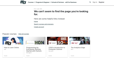 edX 404 page