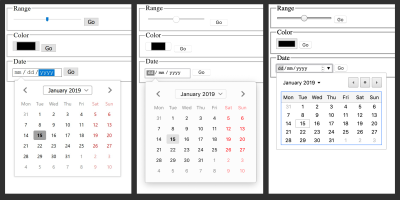 A combined screenshot showing the different visual representations of range, color and date fields in three different browsers: Edge, Firefox and Chrome.