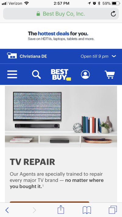 Best Buy provides geo-specific details