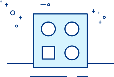 A sorting toy with three round holes and one squarehole