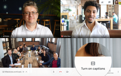 A still image of a video call in Google Meet with the Turn On Captions setting zoomed in to see where it can be found in the interface