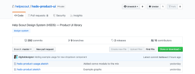 Screenshot of the original Help Scout design system in GitHub