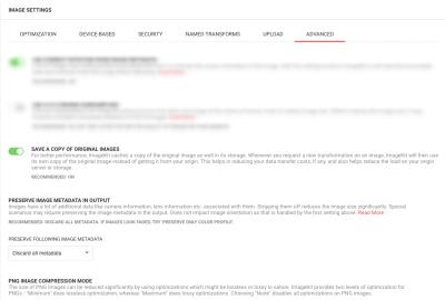 ImageKit advanced optimization settings