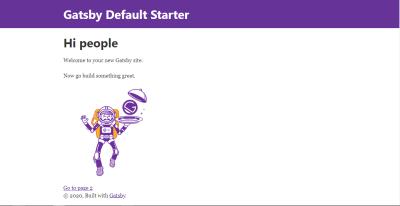 Gatsby default landing page