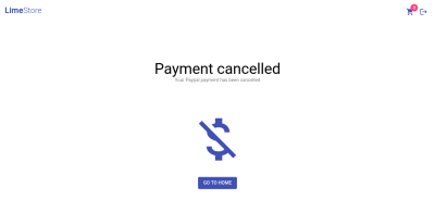 Screenshot of payment cancellation page