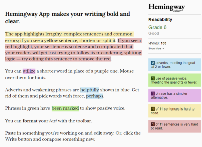 Hemingway App default screen, showing some text with readability errors and warnings highlighted.
