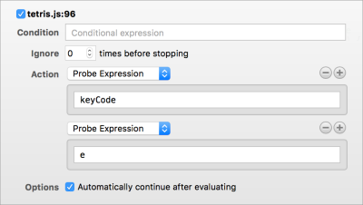 Screenshot of the breakpoint options tooltip in Safari, showing how you can configure breakpoints