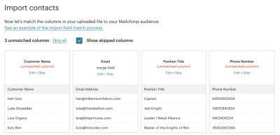 MailChimp mapping fail