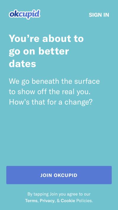 Splash screen for OkCupid app