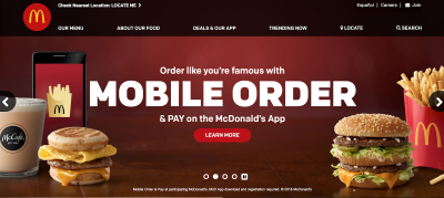 McDonald's website design is consistent with its brand.