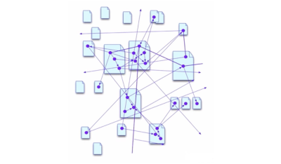 Illustration showing how semantic data connects across web pages