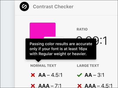 Lengthy tooltip text on a mobile contrast checker.