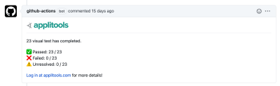 Comment in GitHub Pull Request showing visual testing checks