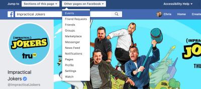 Facebook offers plenty of skip link keyboard shortcuts.